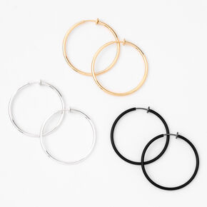 Mixed Metal 40MM Clip On Hoop Earrings - 3 Pack,