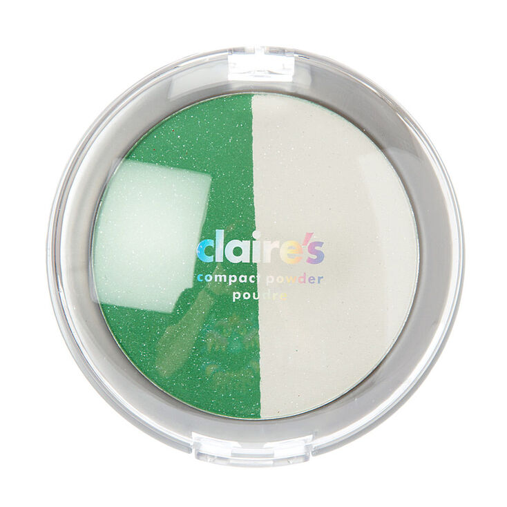 Shimmer Green & White Compact Powder,