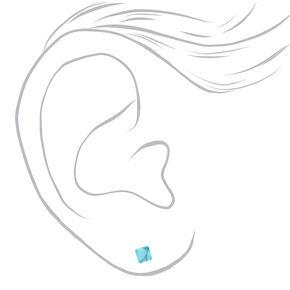 Mixed Metal Ball & Bar Marble Stud Earrings - Blue, 9 Pack,