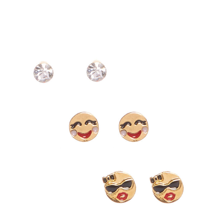 18kt Gold Plated Emoji Stud Earrings Set,
