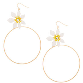 "Gold 4"" Daisy Hoop Drop Earrings,"