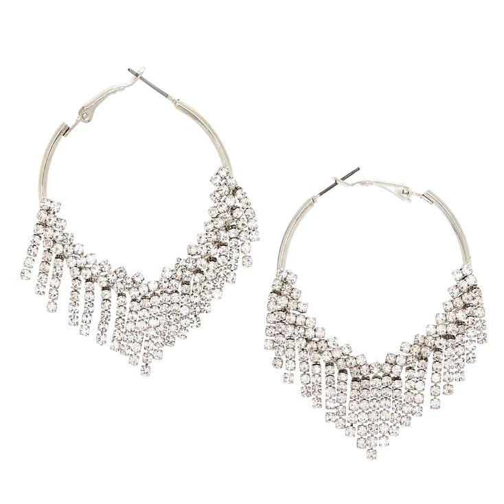 Silver 40MM Fringe Hoop Earrings,