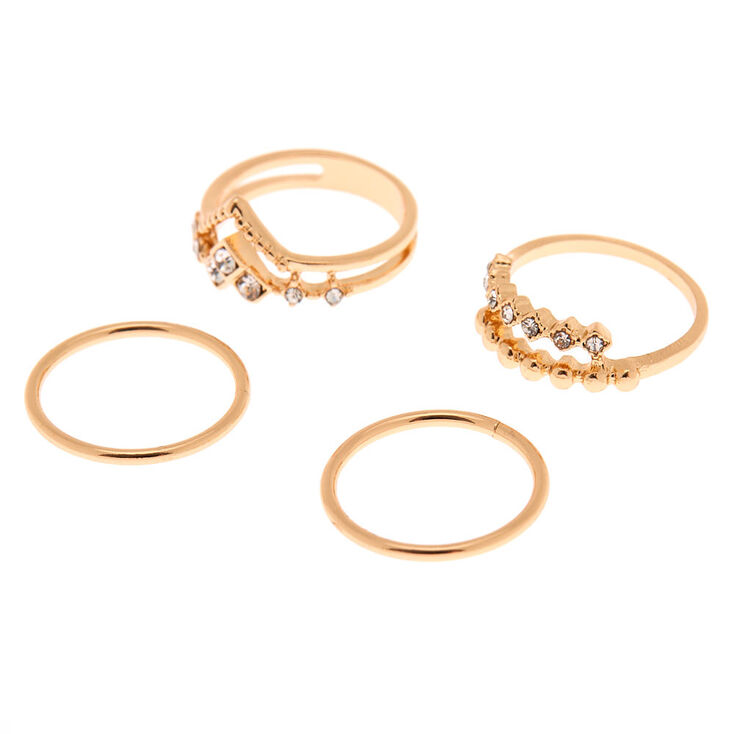 Gold Embellished Midi Rings - 4 Pack,