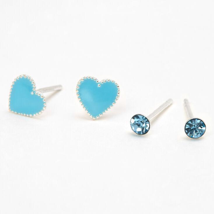 Sterling Silver Crystal Heart Stud Earrings - Teal, 2 Pack,