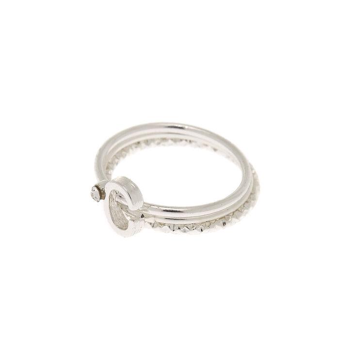 Silver Initial Midi Rings - C, 3 Pack,
