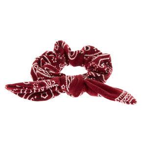 Paisley Print Bandana Bow Hair Scrunchie - Burgundy,
