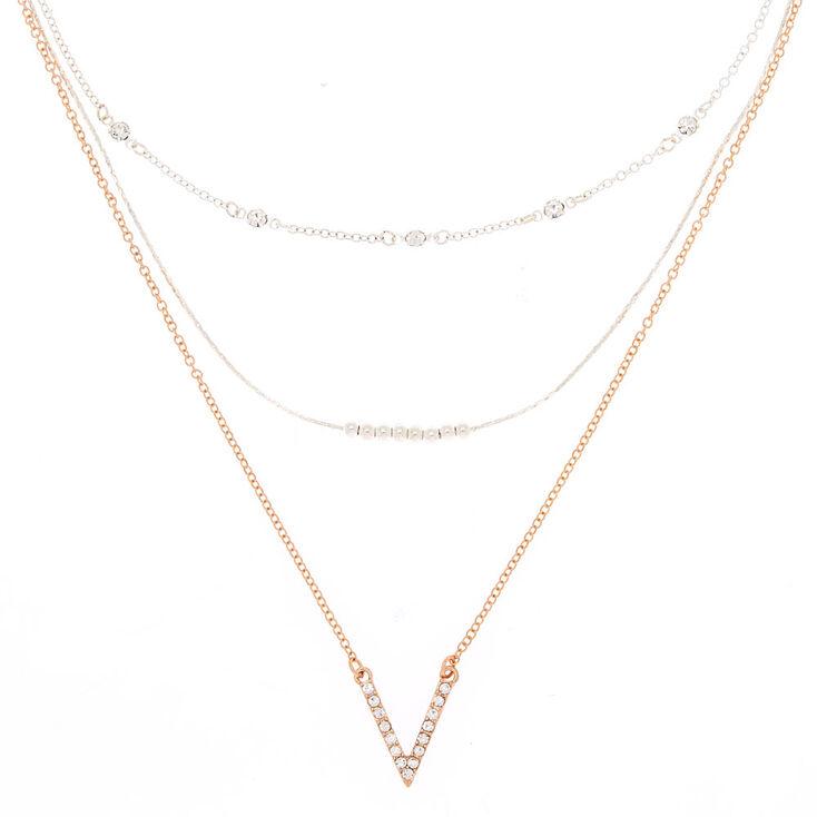 Mixed Metal Chevron Multi Strand Necklace,