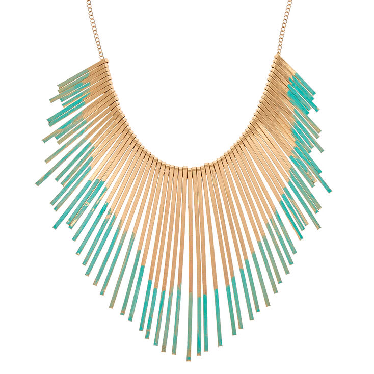 Mint & Gold Bar Bib Necklace,