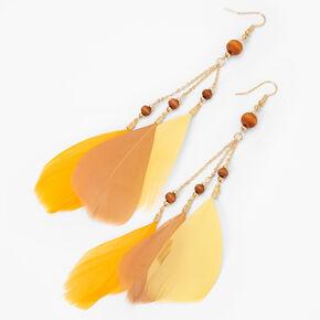 "Gold 6"" Wooden Beaded Drop Earrings - Yellow,"