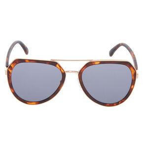 Tortoiseshell Aviator Sunglasses - Brown,