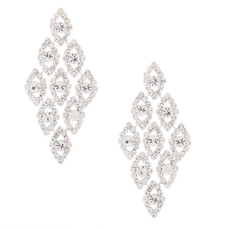 """Silver Glass Rhinestone 2.5"""" Chandelier Earrings,"""