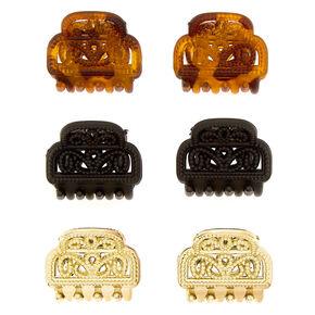 Neutral Filigree Mini Hair Claws - 6 Pack,