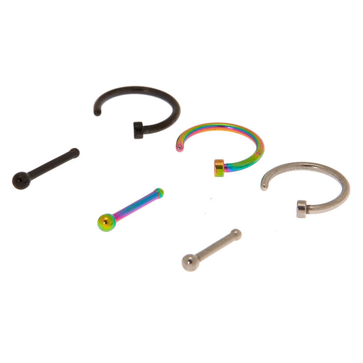 Mixed Metal 18G Anodized Nose Ring & Stud Set - 6 Pack,