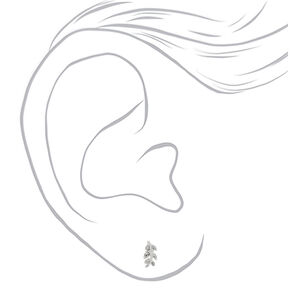 Sterling Silver Leaf Stud Earrings,