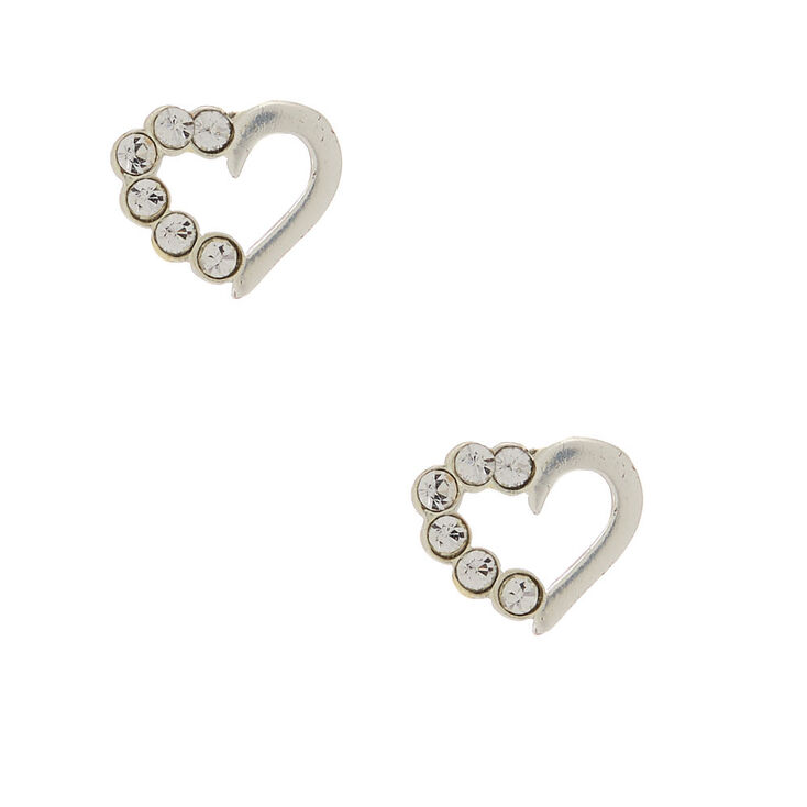 Sterling Silver & Crystal Heart Stud Earrings,