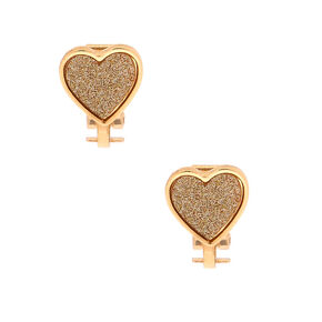 Gold Glitter Heart Clip On Earrings,