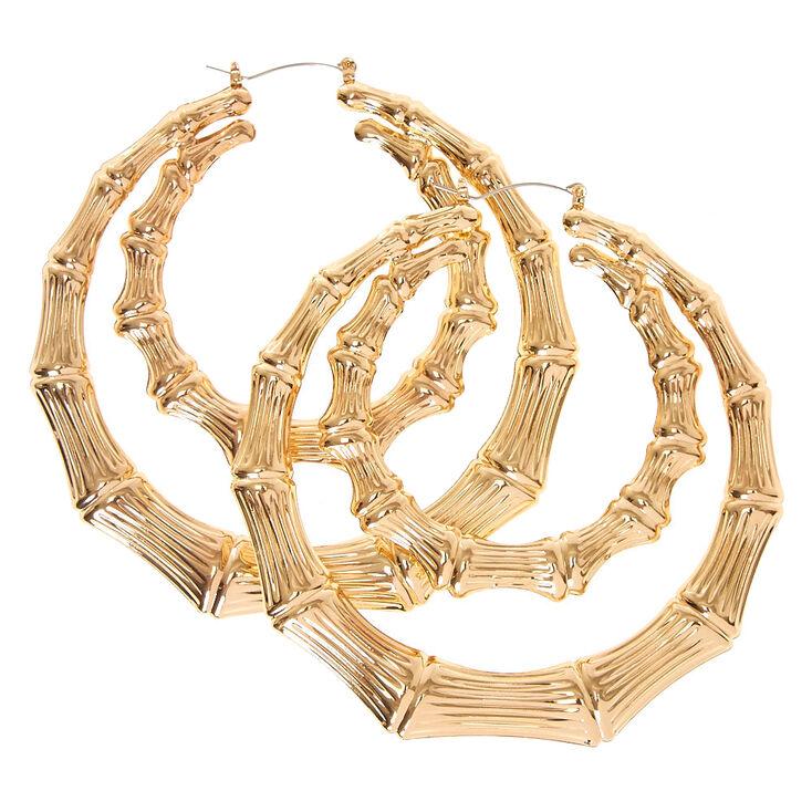 Gold Tone Double Bamboo Hoop Earrings,