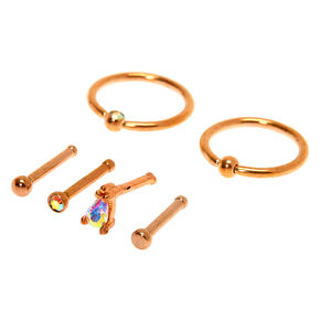 Rose Gold 18G Iridescent Crystal Nose Rings - 6 Pack,