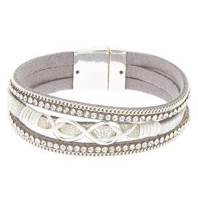 Embellished Infinity Statement Bracelet - Silver,