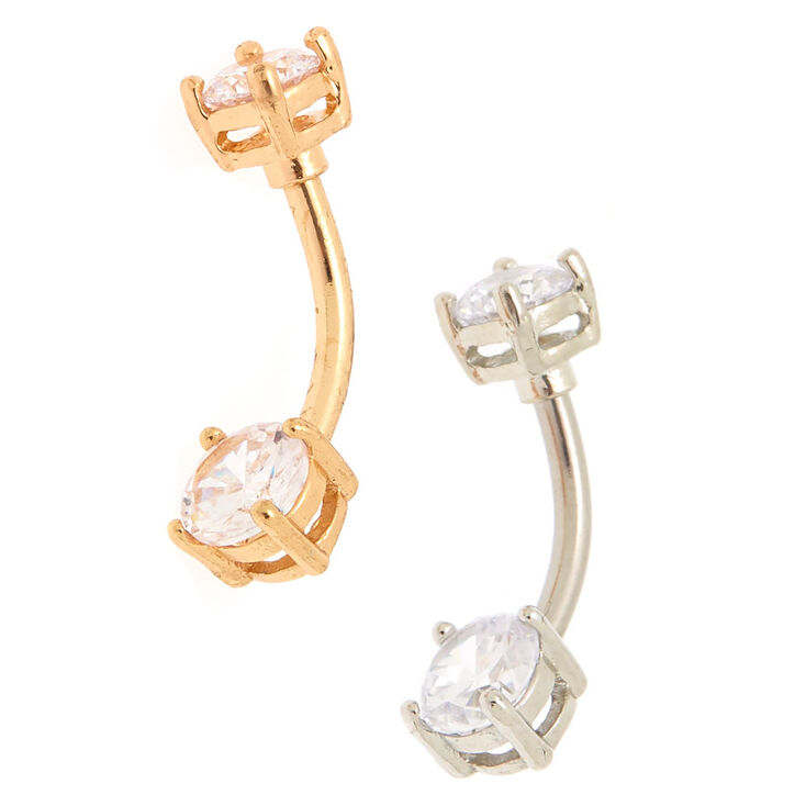 Mixed Metal 14G Cubic Zirconia Belly Bars - 2 Pack,