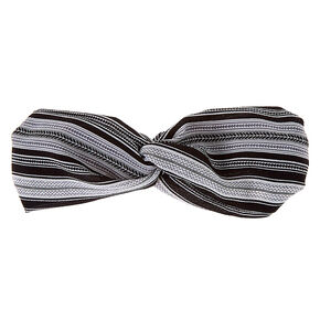 Aztec Stripe Twisted Headwrap - Black,