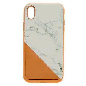 Rose Gold Marble Protective Phone Case - Fits iPhone XR,
