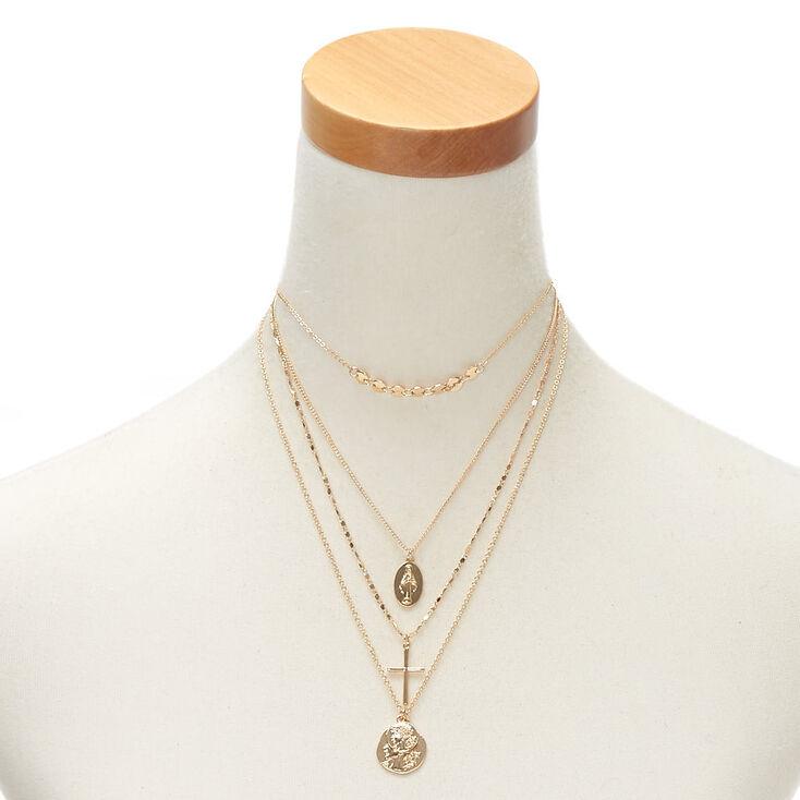 Gold Relic & Cross Multi Strand Necklace,