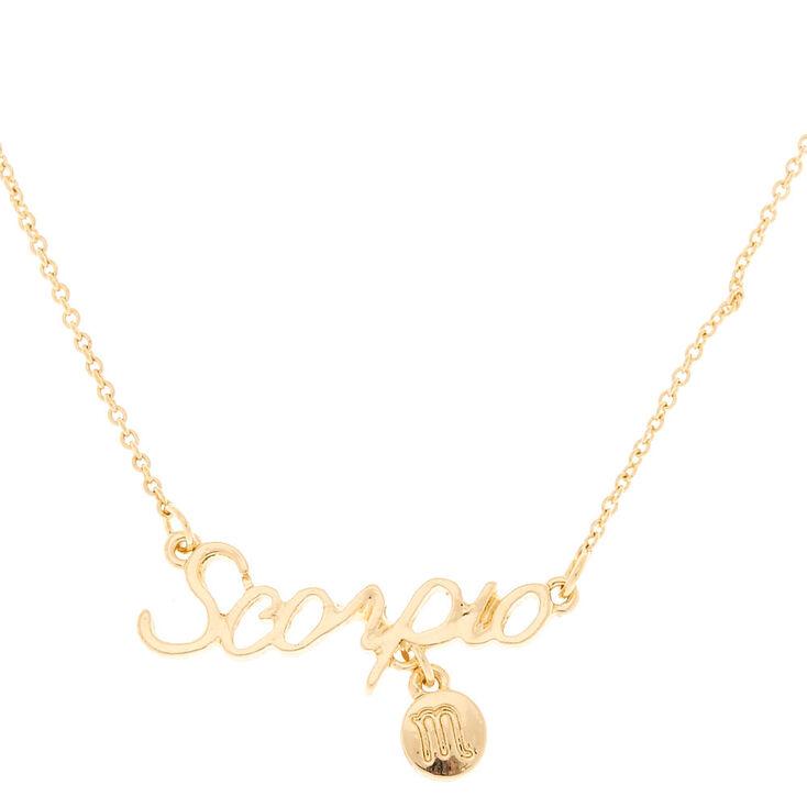 Gold Zodiac Pendant Necklace - Scorpio,