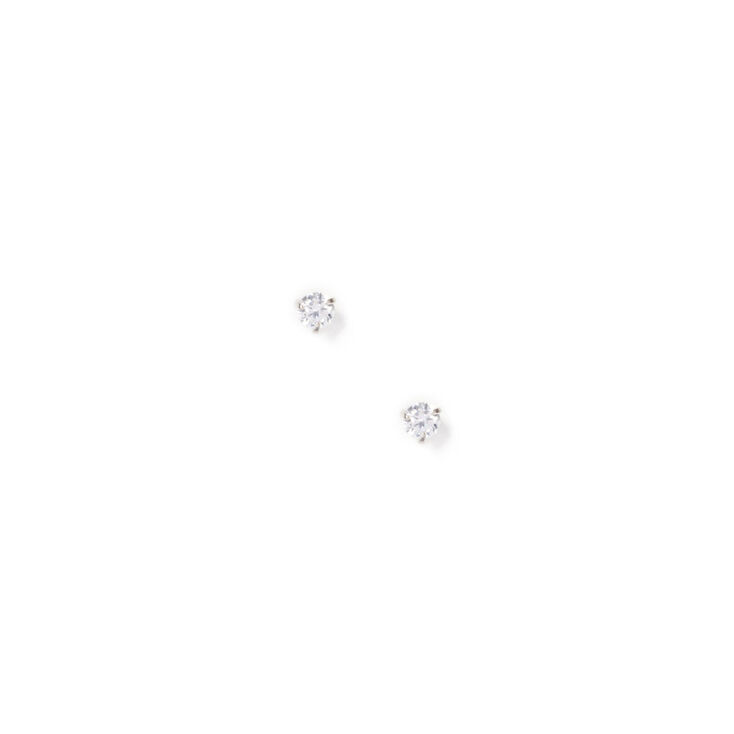 Silver Cubic Zirconia Round Martini Stud Earrings - 3MM,