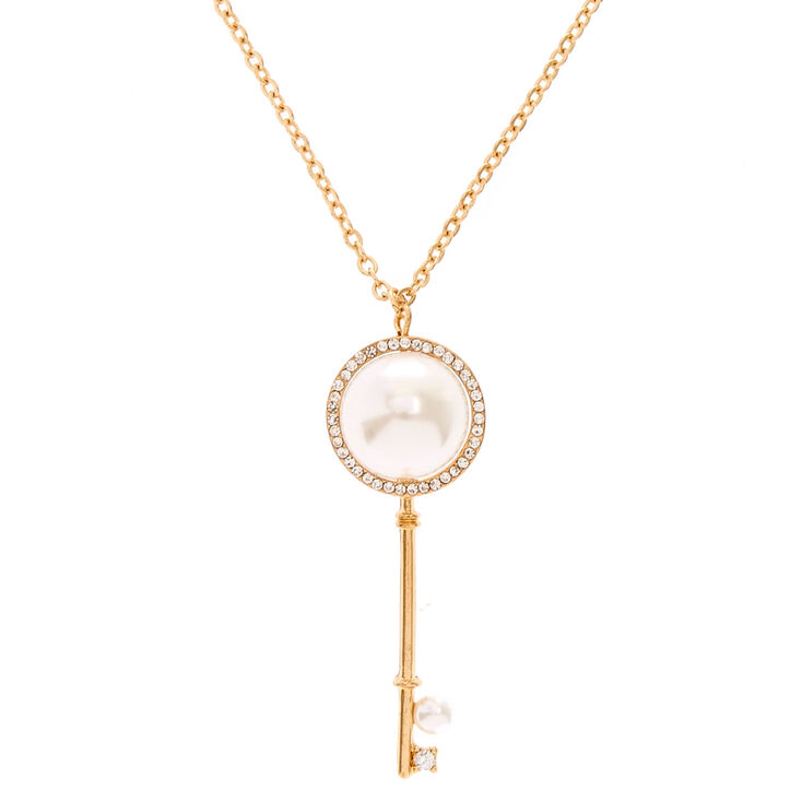 Gold-Tone Long Pearl Key Necklace,