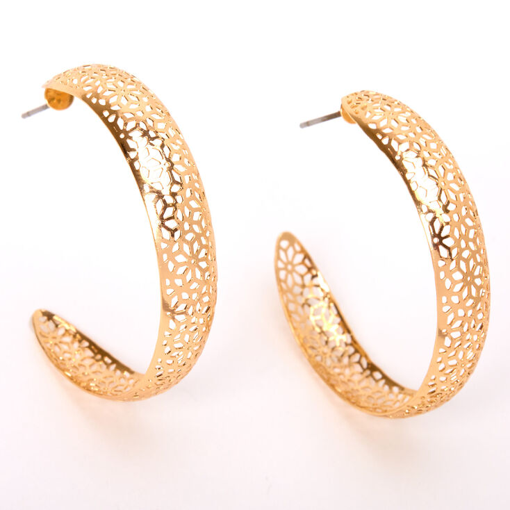 Gold 40MM Filigree Hoop Earrings,