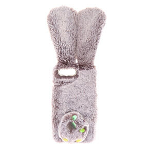 Faux Fur Bunny Phone Case - Grey,