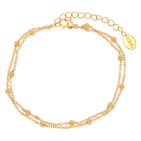 Gold Beaded Layered Anklet,