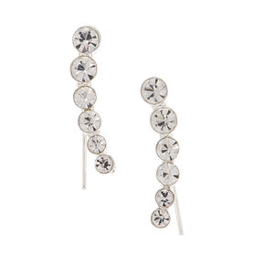 "Silver 1"" Graduated Crystal Ear Crawler Earrings,"