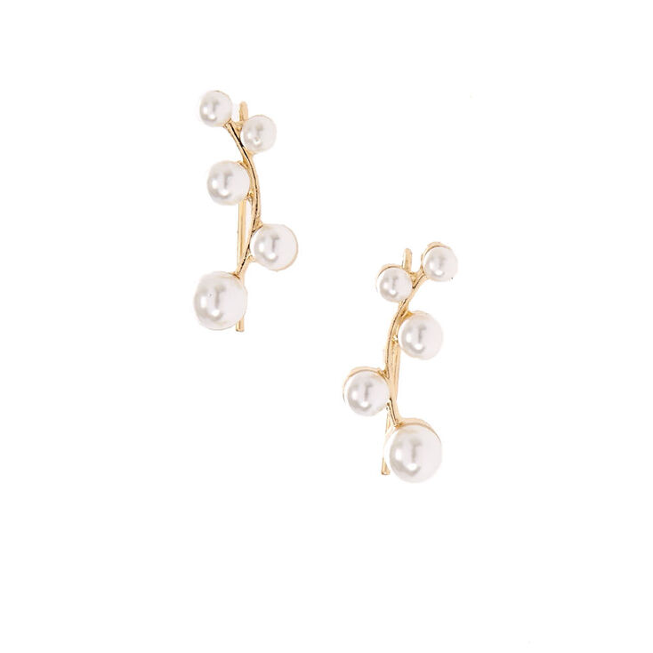 White Faux Pearl  Cluster Gold Tone Ear Crawler,