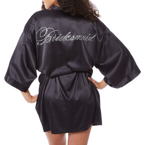 Black Satin & Crystal Bridesmaid Robe,
