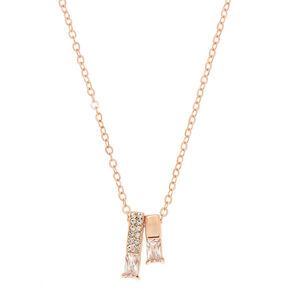 Rose Gold Bar Pendant Necklace,