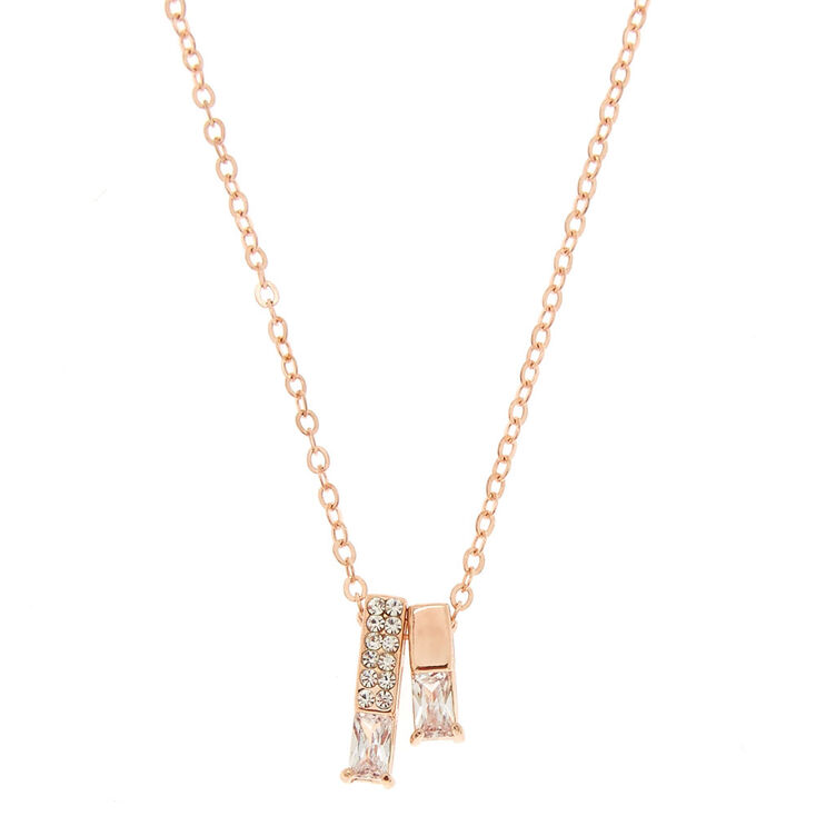Rose Gold Bar Pendant Necklace