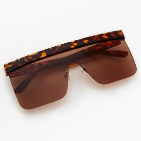 Tortoiseshell Shield Sunglasses - Brown,