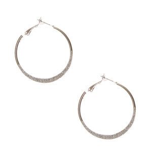 Silver Glitter Knife Edge Hoop Earrings,