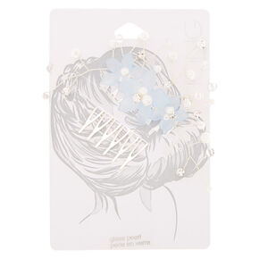 Silver Frosted Flower Hair Comb - Blue,