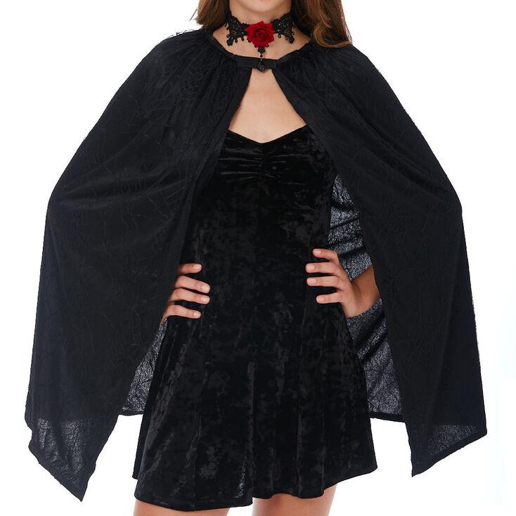 Velvet Lace Cape - Black,
