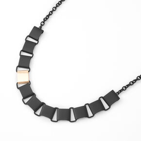 Black Matte Square Link Statement Necklace,