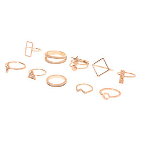 Rose Gold Glitter Geometric Rings - 10 Pack,