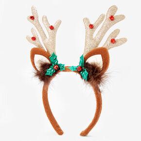 Reindeer Antler Jingle Bell Headband - Brown,