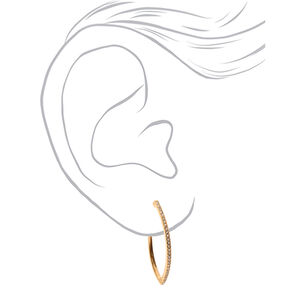 Gold 40MM Embellished Almond Hoop Earrings,