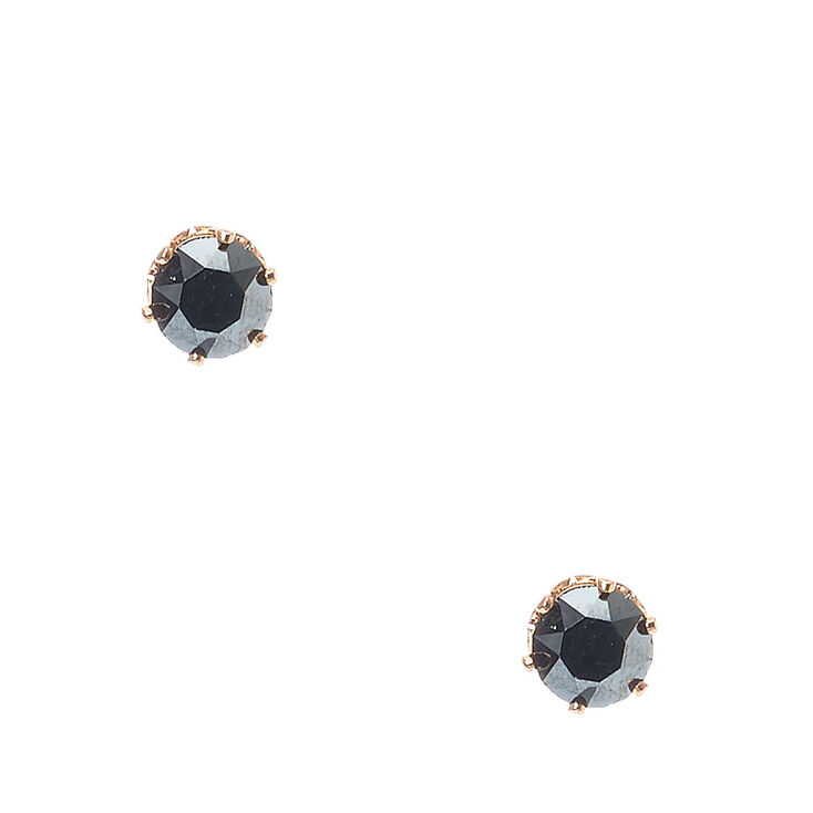 18KT Gold Plated 5MM Black Stone Earrings,