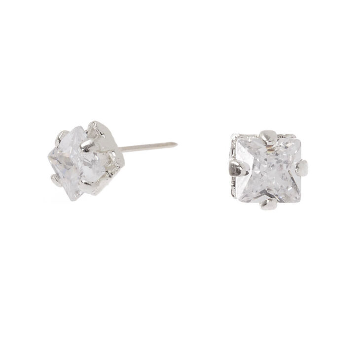 Silver Cubic Zirconia 3MM Square Stud Earrings,