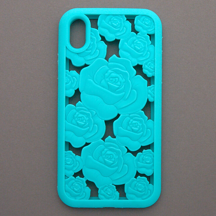 Turquoise Floral Cut Out Silicone Phone Case - Fits iPhone XR,