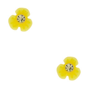 Sterling Silver Daisy Stud Earrings - Yellow,